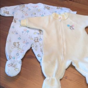 Pair of Fleece Carter's Zip Footed Sleeper 0-6M